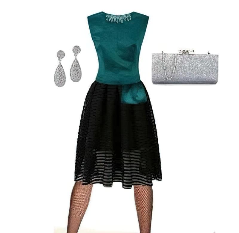 чорні колготки в сітку з чим носити