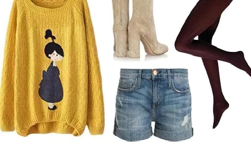 джинсові шорти взимку з чим носити