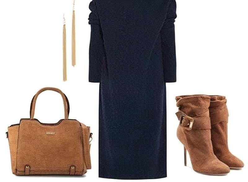 синє пряме плаття з чим носити