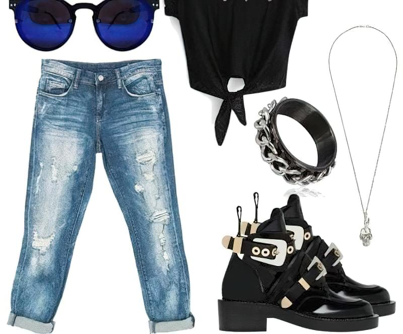з чим носити рвані джинси бойфренди