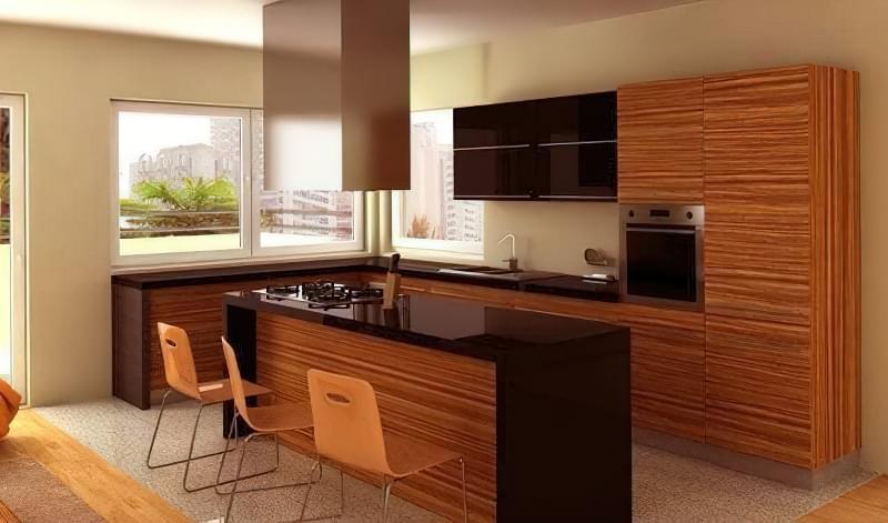 кухня зебрано в інтер'єрі
