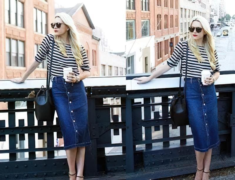 з чим носити джинсову спідницю на ґудзиках