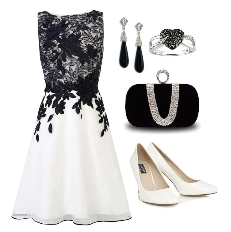 чорно біле плаття з яким взуттям носити