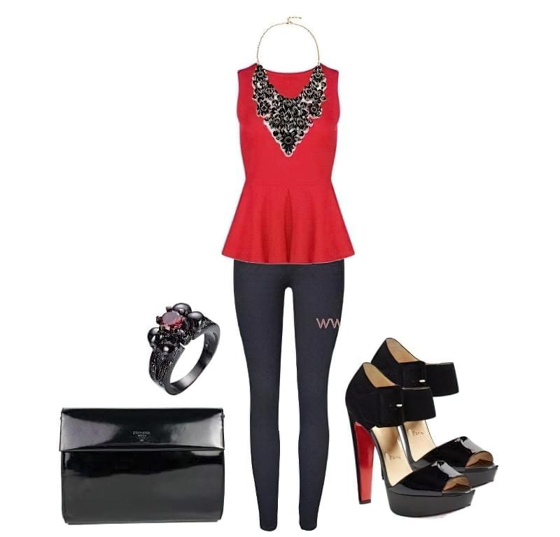 червона блузка з басками з чим носити