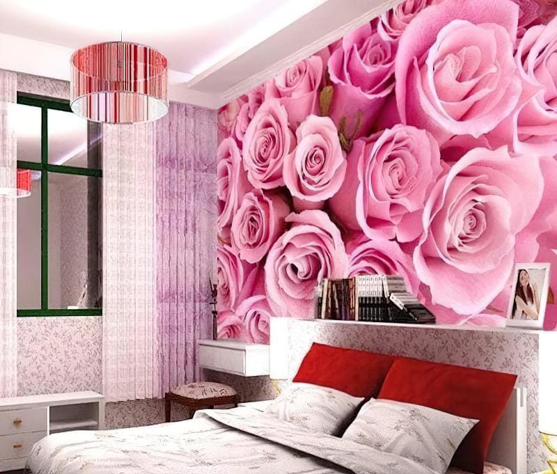 фотошпалери квіти в спальню над ліжком