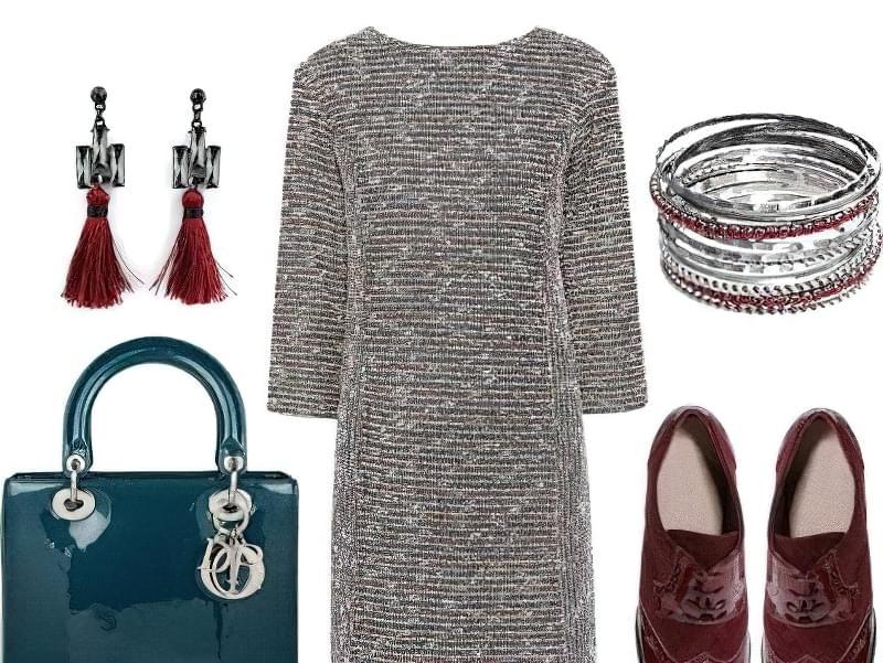 Плаття з легким вкрапленням люрексовою нитки можна доповнити правильно підібраними блискучими аксесуарами
