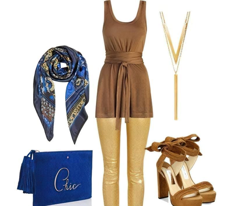 Образ обігрує гарне поєднання відтінків синього і золотого