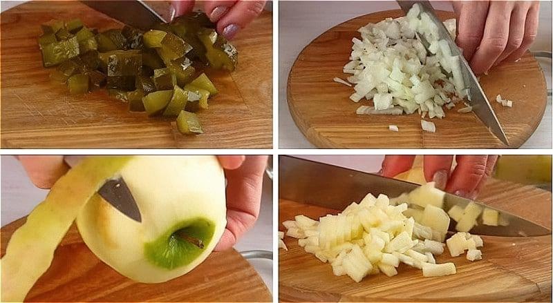 нарізаємо огірки, цибулю і яблуко