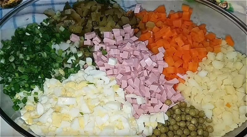 Нарізаємо всі продукти кубиками і складаємо в глибоке блюдо