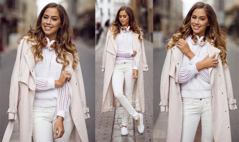 Білий светр може бути прекрасною основою для тотал лук