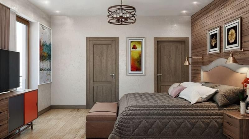 Варіант інтер'єру спальні з декількома дверима