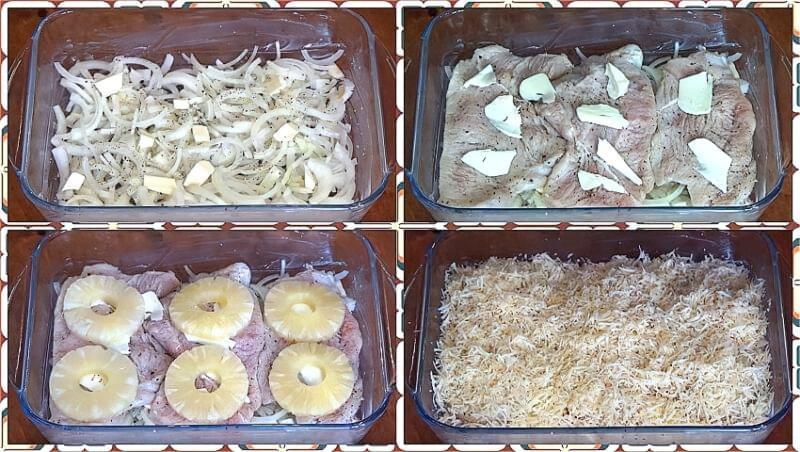 викладаємо у форму філе, ананаси і сир