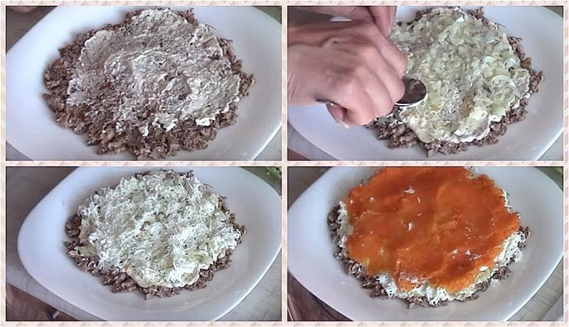 Викладаємо шари-сайра, цибуля, білки, морква