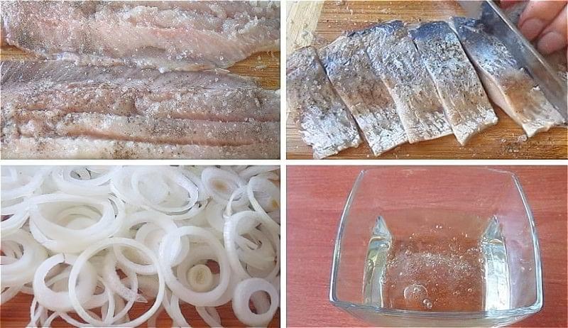нарізаємо оселедець, цибулю і готуємо маринад