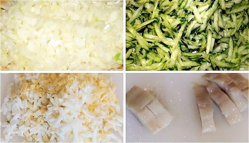 нарізаємо цибулю і оселедець, натираємо яйця і огірок