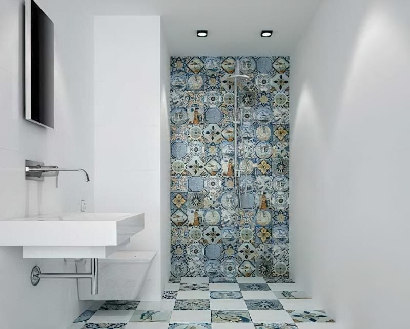 Ідея з мозаїчною кахельною плиткою у ванній і туалеті